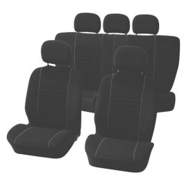 Seat Covers 9 pcs set 'Velours' black/grey- with zips top & bottom